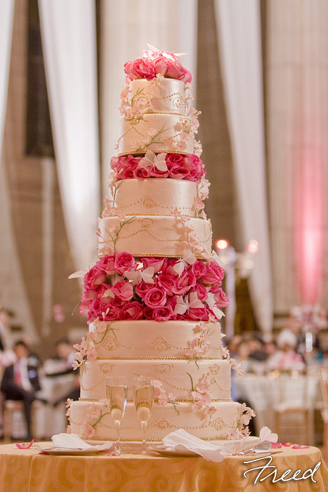 wedding cake with cherry blossoms. Black Bedroom Furniture Sets. Home Design Ideas