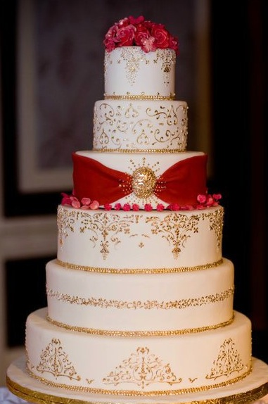 wedding cakes in red and gold wedding cake with gold accents 24750