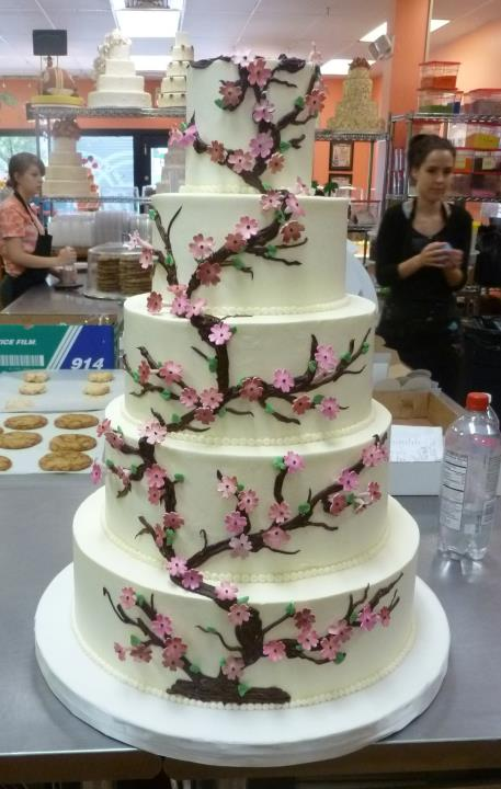 Wedding cake with Cherry Blossoms