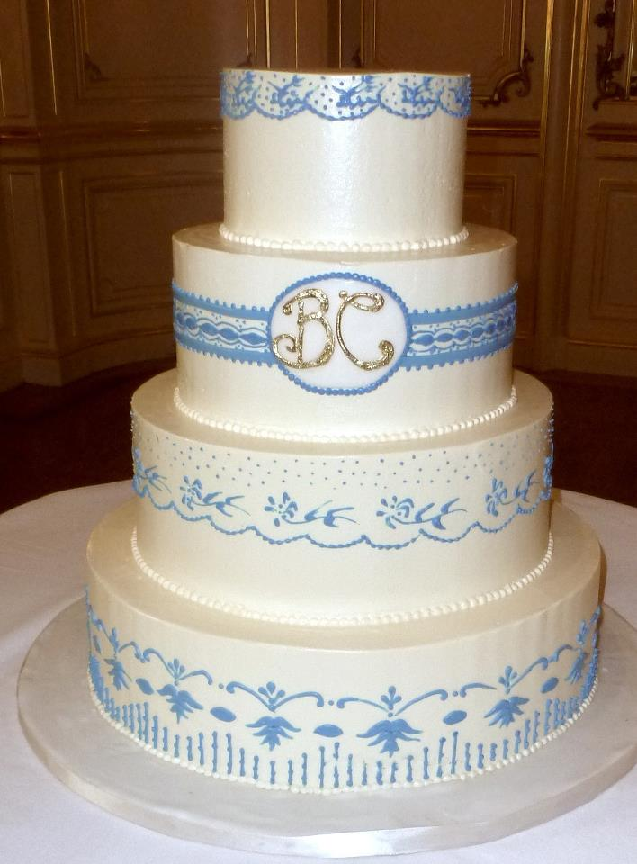 Blue and White Wedding Cake with Monogram