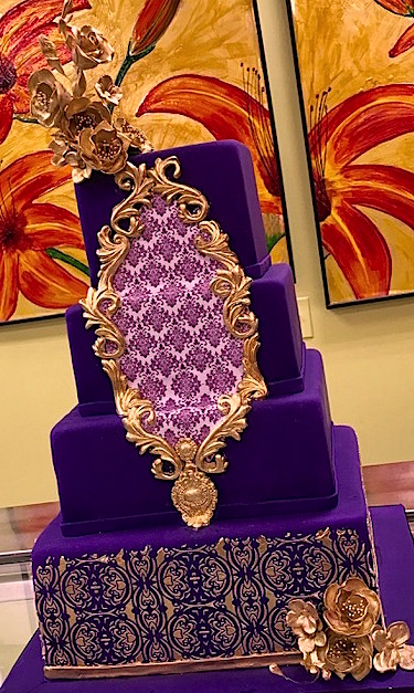 Ultra Violet cakes.  Purple wedding cake.  Square Cake.  Wedding cakes in Bethesda, wedding cakes in Rockville, wedding cakes Gaithersburg.
