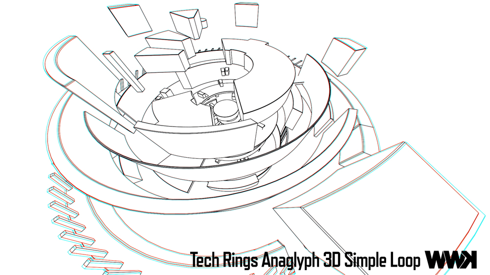 Tech Rings Anaglyph 3D