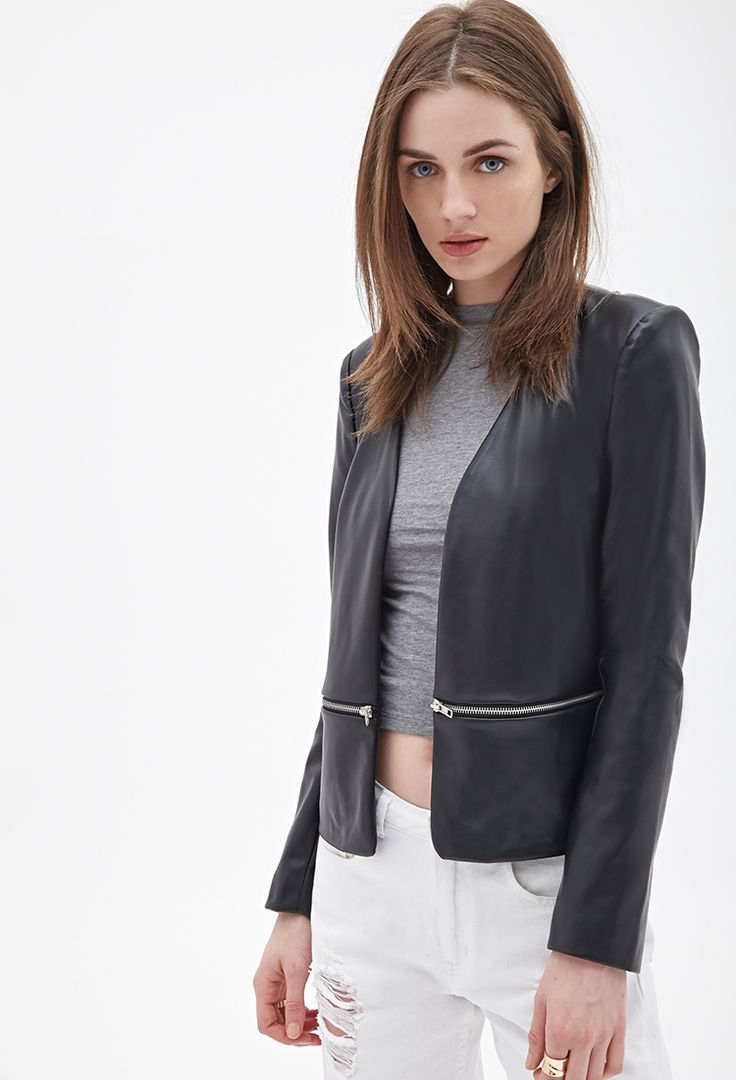 Leather Collarless Blazer
