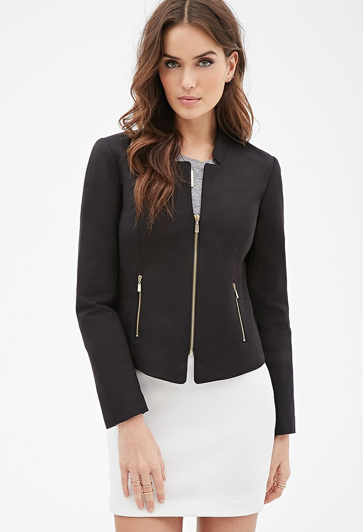 Collarless Zipped Blazer