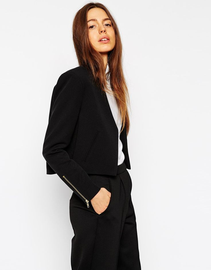 Cropped Twill Blazer with Zips