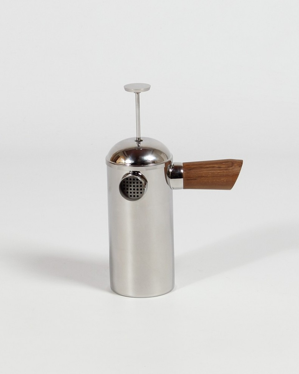 Stainless steel French press with wooden handle.  FREUD  $165
