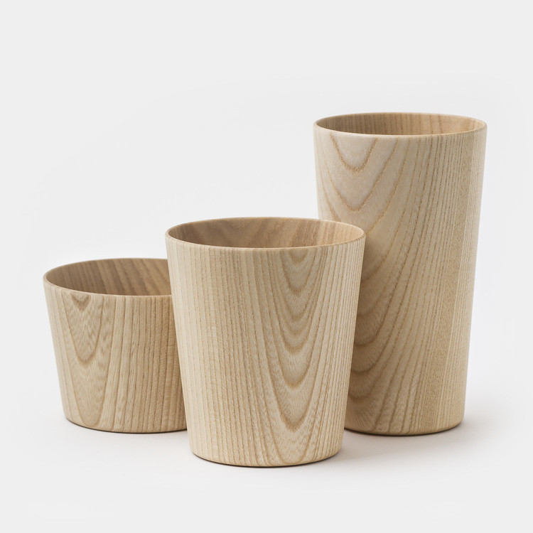 These lovely lightweight cups were designed and handcrafted by Hidetoshi Takahashi in his family run workshop in Hokkaido. The cups are made from Castor Aralia wood and have a food-safe polyurethane coating inside. MASANORI OJI   $60