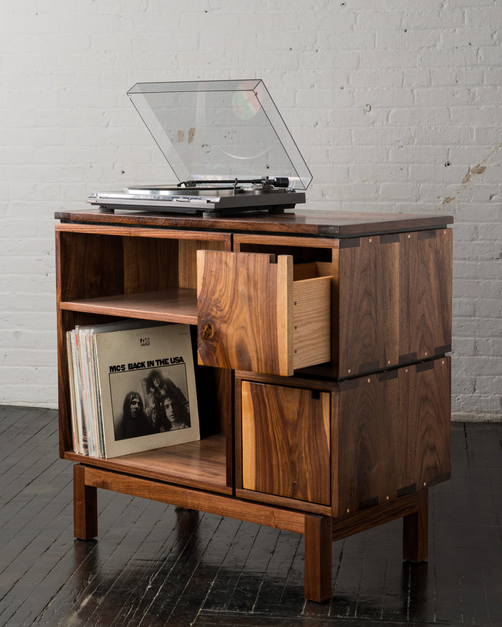 "Walnut Record Player Stand 36"" x 18"" x 33""  BRIAN BOLES $2600"