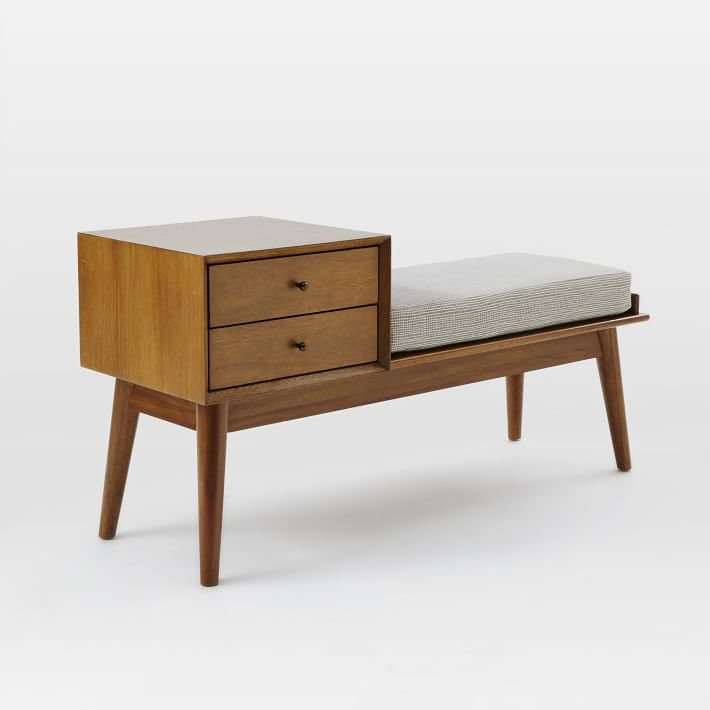 "Mid-Century Storage Bench 46.5"" x 16.25"" x 23.4""  WEST ELM $499"