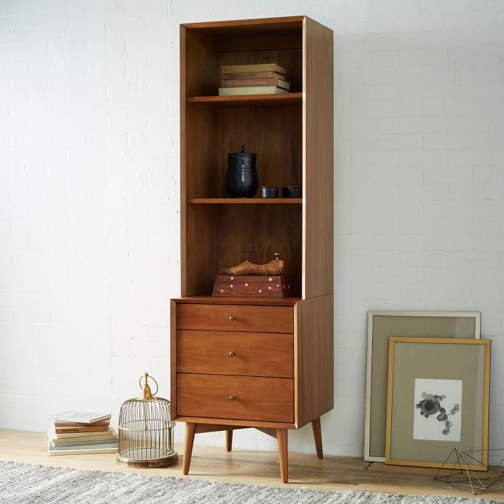 "Mid-Century Bookcase 20.5"" x 19"" x 69""  WEST ELM $698"