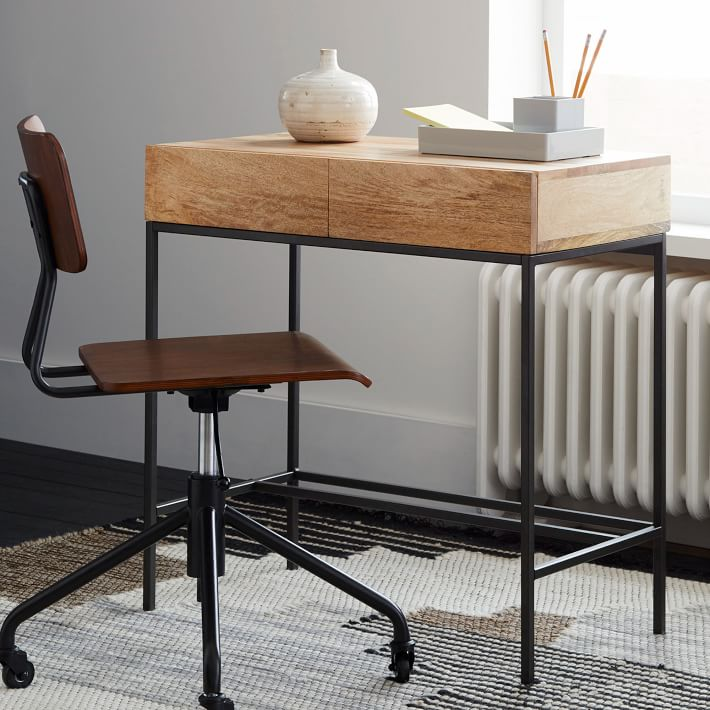 "Industrial Storage Mini Desk 30"" x 18"" x 30""  WEST ELM $399"
