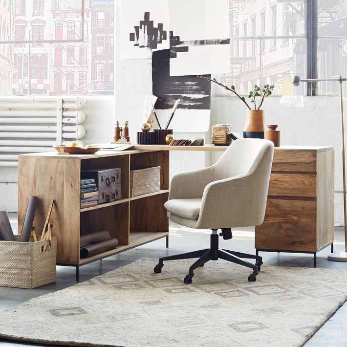 "Industrial Modular Desk 64"" x 64"" x 31""  WEST ELM $1499"