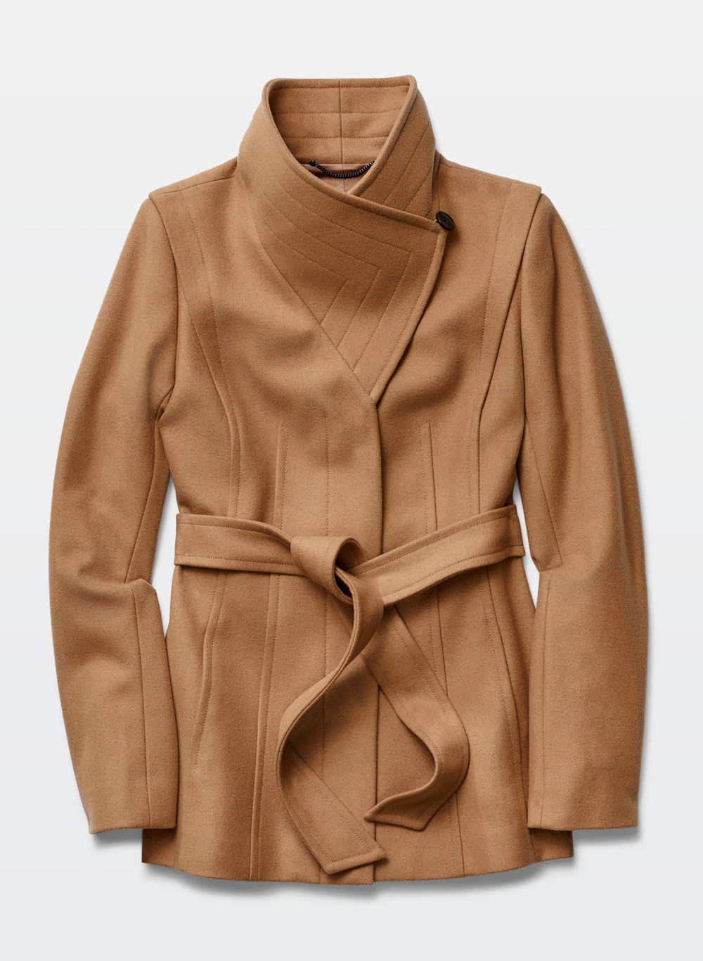 Spencer Wool Coat Wrap coat with hidden placket with a draped funnel collar and detachable self tie belt. Has a soft blend of wool and cashmere. BABATON $295