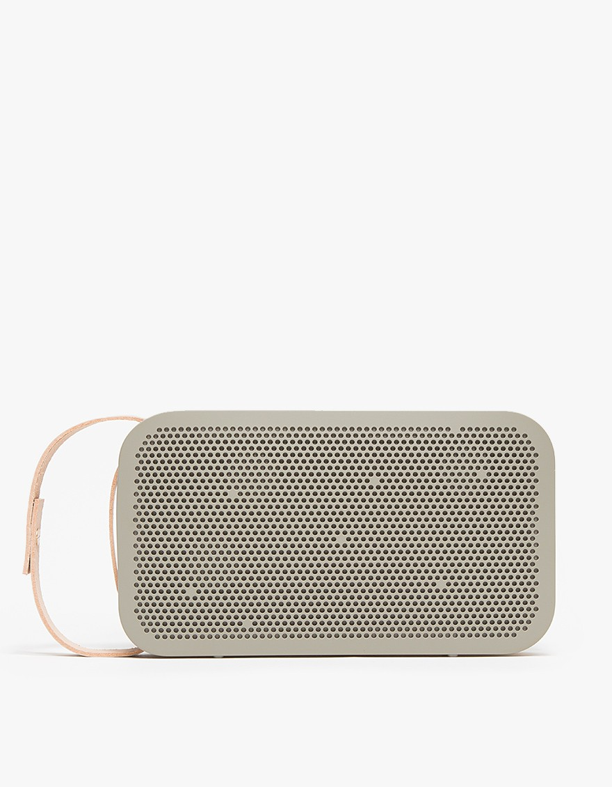 A2 in Grey Portable Bluetooth speaker with True 360 sound in grey. Features digital sound processor, solid aluminium core, polymer shell, leather carry strap, rechargeable Li-ion battery, USB port charger and Bluetooth connectivity. B&O PLAY $399
