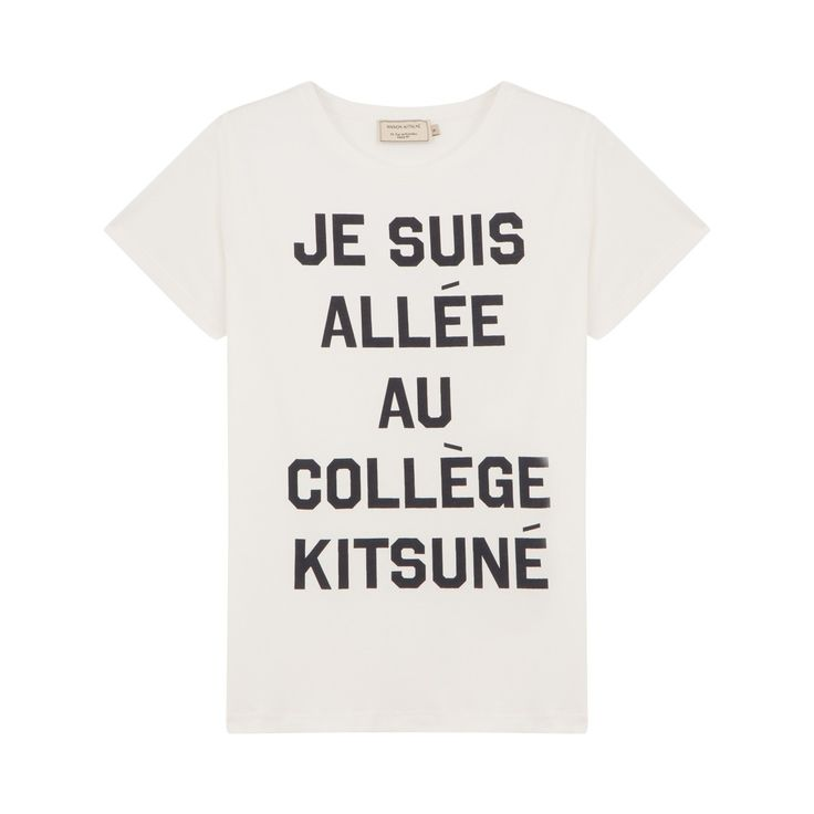 "Tee Je Suis Allee T-shirt printed with the slogan ""Je suis allé au collège Kitsuné"". Round neck. Short sleeves. 100% cotton. 4 colours: white, grey marl, navy blue, black. MAISON KITSUNÉ $60"