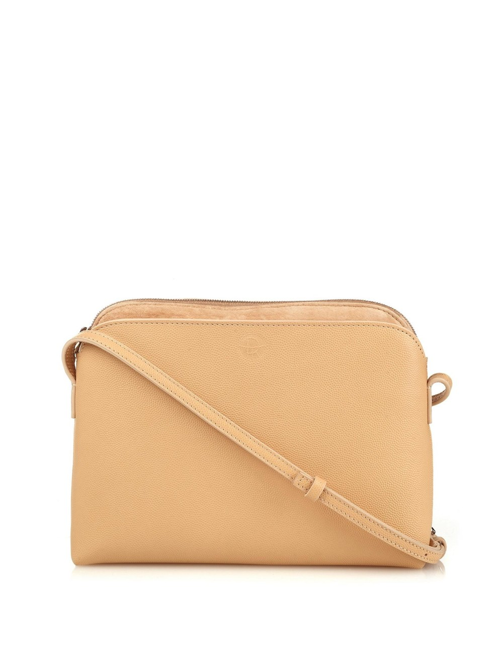Multi Pouch Cross Body Bag   Beige grained leather and suede inner pocket with slim adjustable strap.  THE ROW $1150