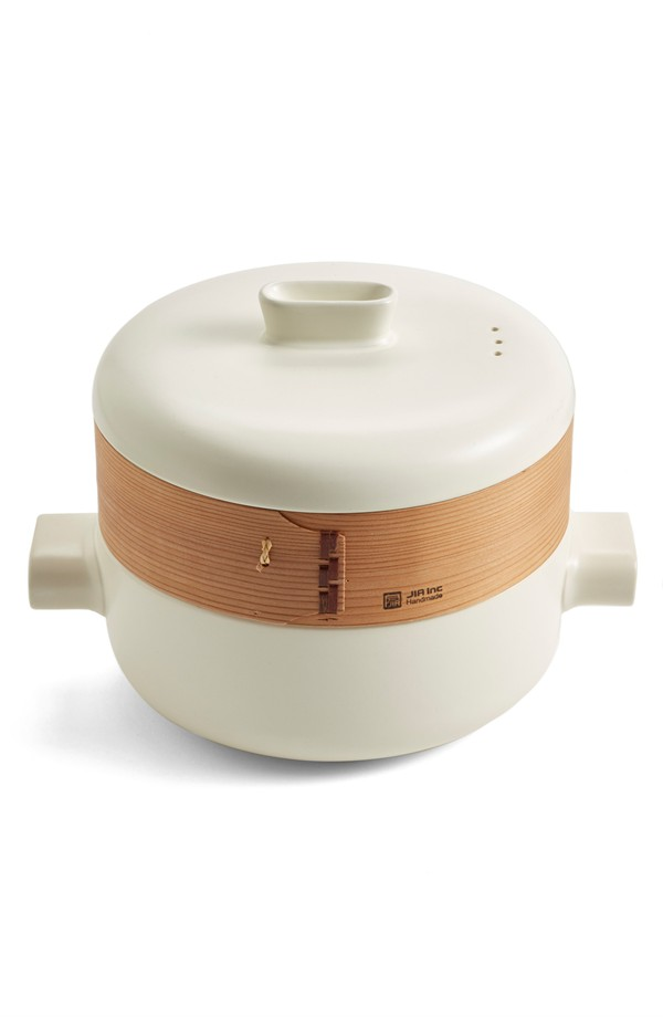 This sturdy, stocky steamer updates a time-honored Chinese technique, replacing the traditional bamboo base with adaptable, moisture-regulating terra cotta to create an ideal steaming environment. The pot and lid are made from fireproof ceramic that resists cracking, meaning you can use your steamer in the microwave, oven and on the stove-top with ease.   JIA INC $139
