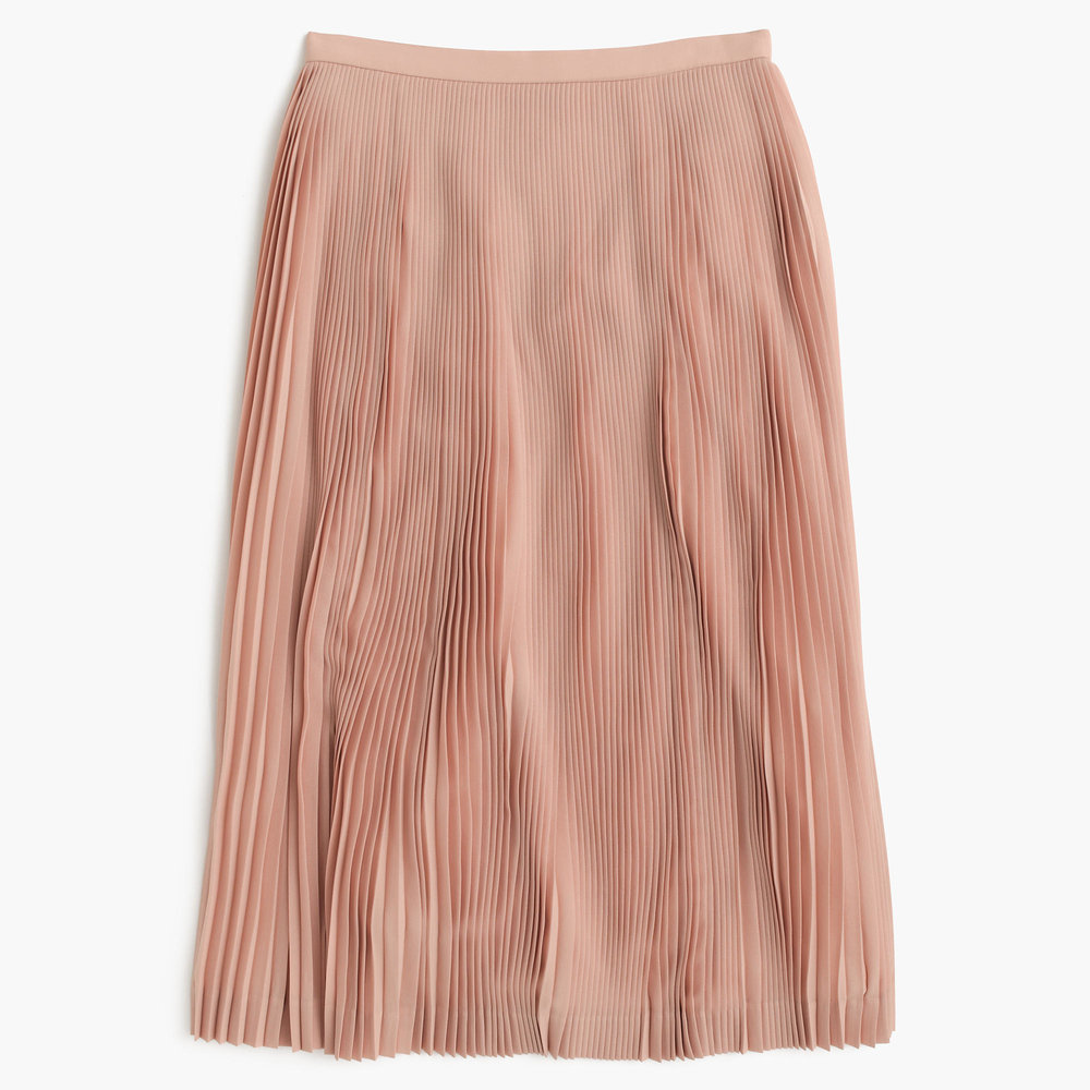 Micro Pleated Midi Skirt   A-line midi skirt made of poly fabric that holds the pleats.  J.CREW $118