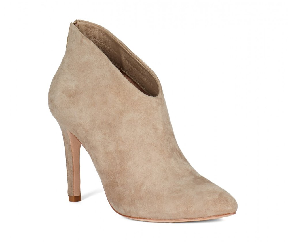 Jadyn Booties   Tan upper suede, almond toe and low cut fit with back zipper closure.  JOIE $140