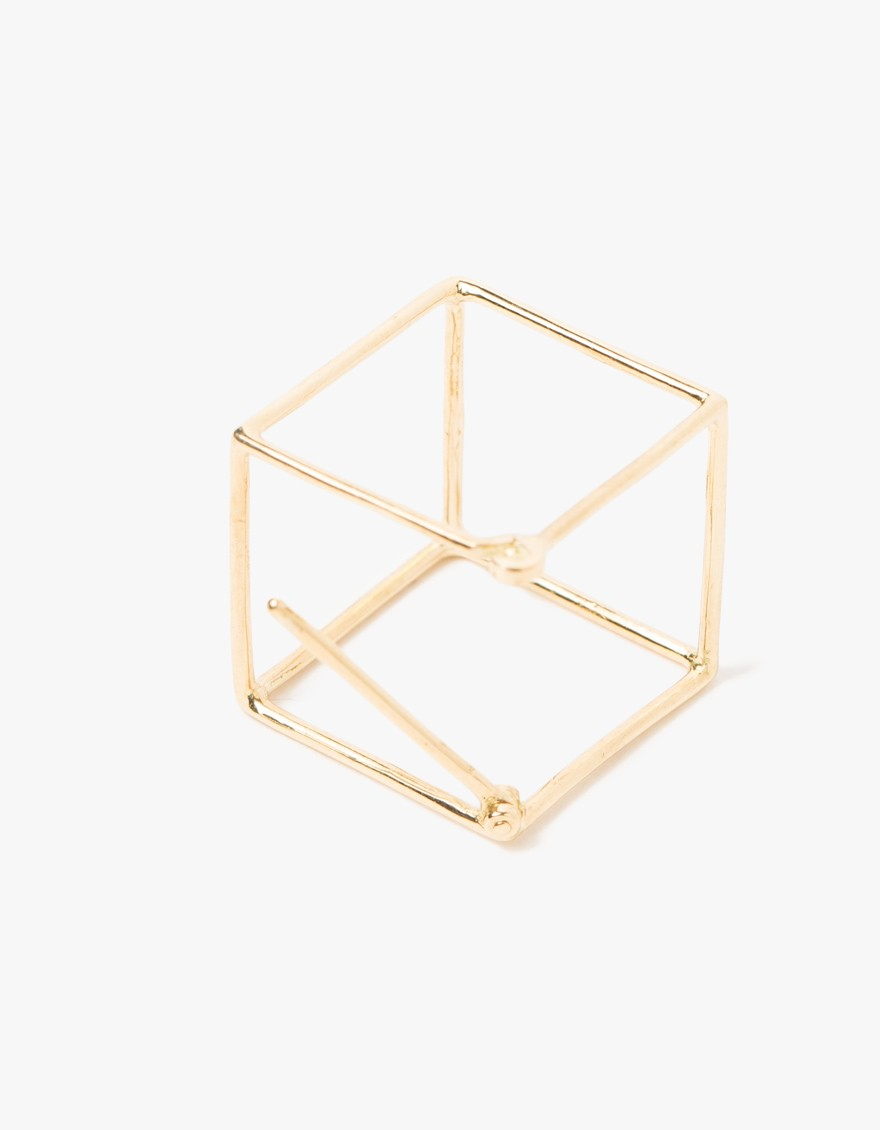 Square Earring in 15mm    A single 18k yellow gold 15mm cube earring with straight post on a hinge and hook structure closure.   SHIHARA $538