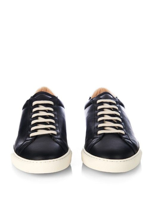 Leather High Top Sneaker   Step up your off-duty looks with this streamlined high-top sneaker. Luxe nappa leather is finished with a durable rubber sole, making it a chic complement to a skirt or a jogger.  RALPH LAUREN $150