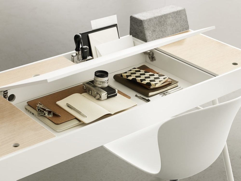Cupertino desk accommodates the basic needs of a modern client. It's simple and innovative design combines a good working surface with ample storage including easy cable management and integrated bluetooth enabled speakers compatible with most modern sound system.