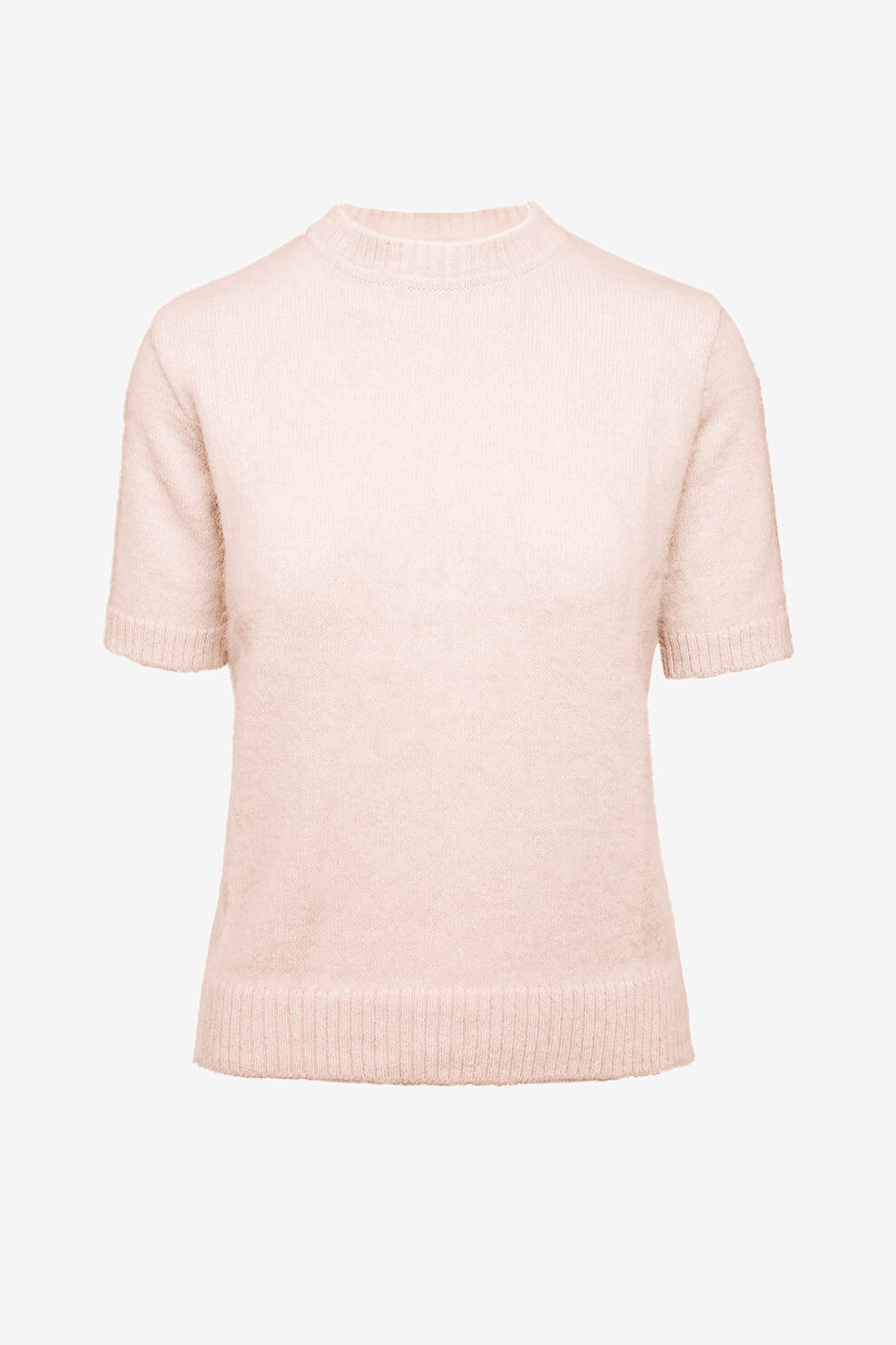 Fuzzy short sleeve knit