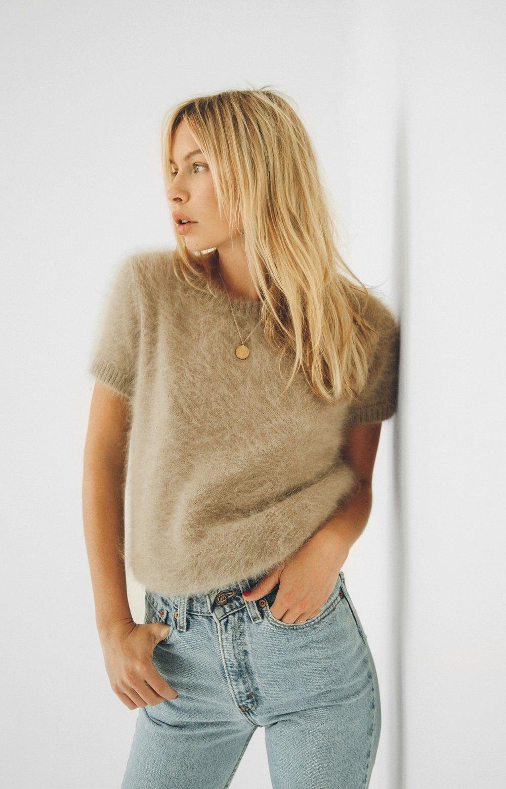 Angora short sleeve sweater