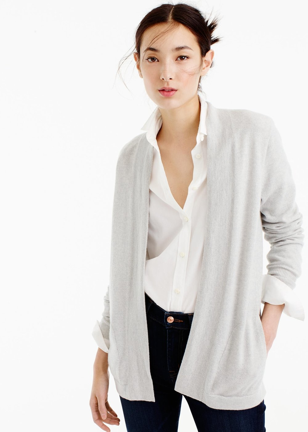 Italian cashmere long open cardigan