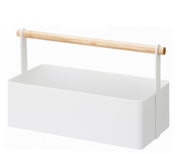 Clean, utilitarian design defines a sturdy steel-and-wood toolbox that perfectly balances form with function.   YAMAZAKI $28