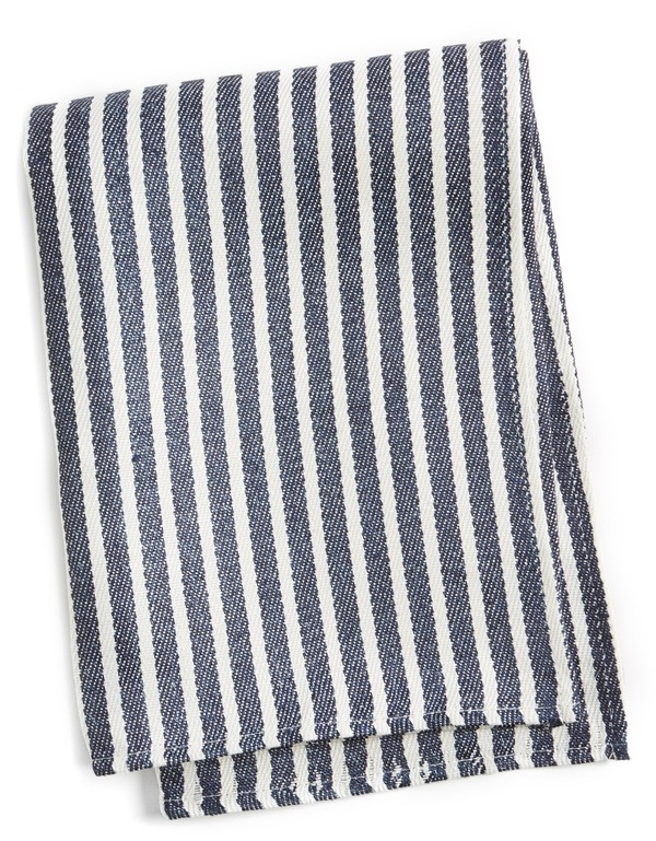 A long-lasting kitchen towel that gets softer and more absorbent with every wash is woven from linen in a way that beautifully displays the natural fibers and is patterned in bold stripes for a classic look. FOG LINEN WORK $12