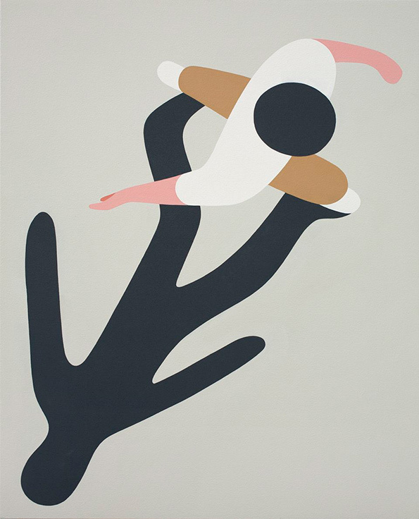 Geoff McFetridge  Canadian artist  Geoff McFetridge  started his career working primarily on graphic design, creating logos for big companies then started painting and doing illustrations in early 2000. But McFetridge is widely known for his silk screen illustrations. These figure drawings are simplified into geometric shapes, they become abstract. The playful interweaving of visual between reality and our perceptions often overlooked by our consciousness is captured as two-dimensional subjects.