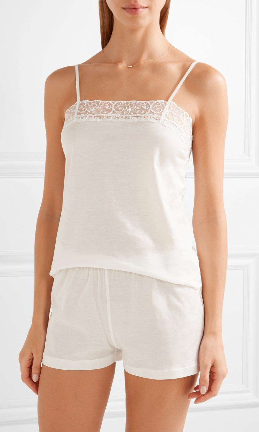 LA PERLA Tulle Trimmed Cotton Pajama Set