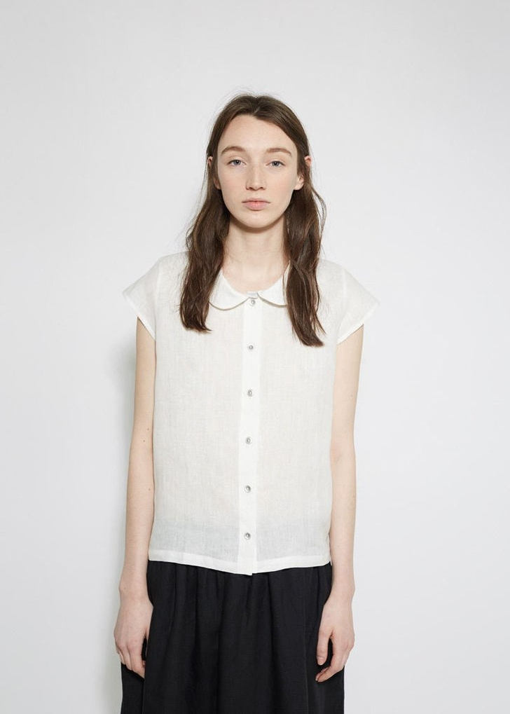 LE VESTIARE DE JEANNE Peter Pan Collar Shirt $47