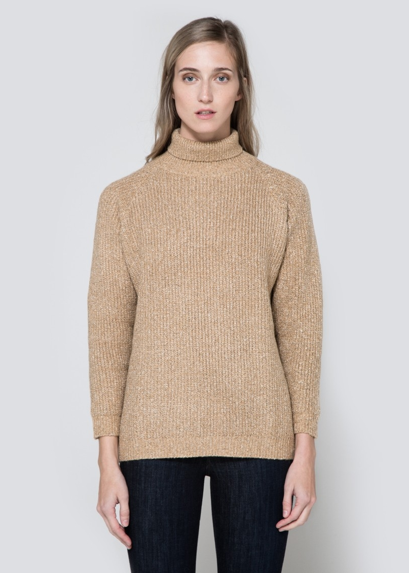 CALLAHAN Heathered Mock Turtleneck $74