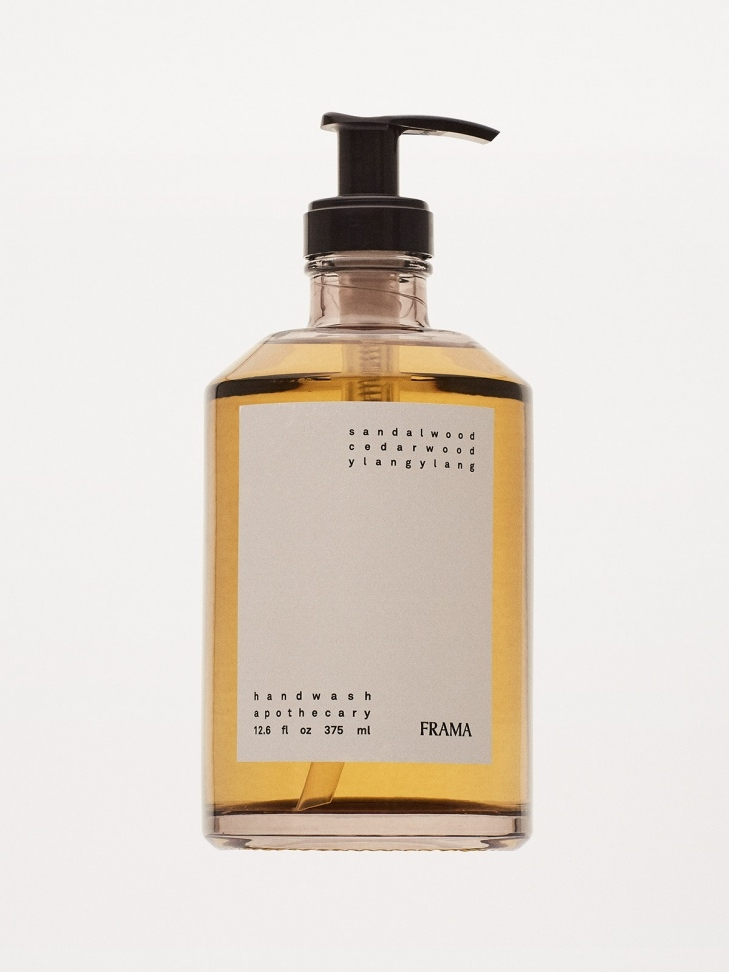 FRAMA Hand Wash The mild hand wash and lotion are created to have a fresh, aromatic scent, and softening feel. Apothecary is made locally in Denmark. Notes of Sandalwood, Cedar Wood, and Ylang Ylang.