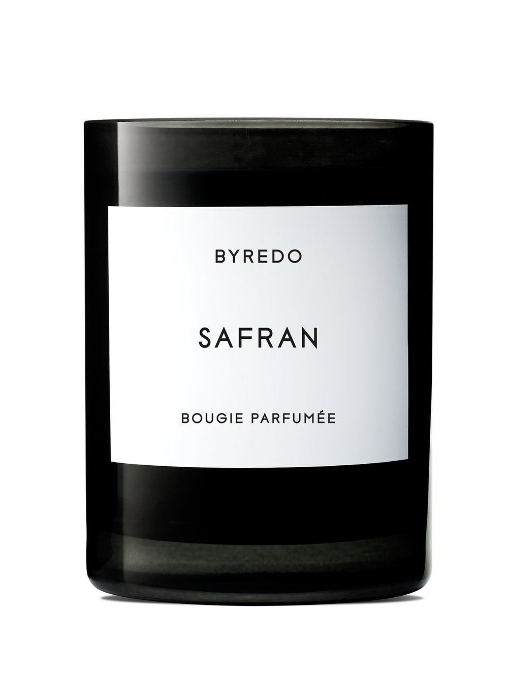 BYREDO Safran Scented Candle  Byredo's candles are crafted in France and housed in handmade glass vessels, perfect for gifting. This 'Safran' scent will fill your home with rich notes of Saffron and Black Pepper. Tied to a base of Patchouli, Vanilla and Dark Amber, it is a warm and inviting way to welcome guests.