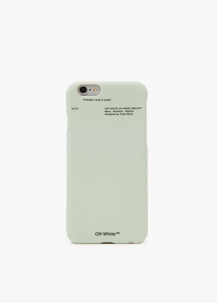 OFF WHITE Corporate iPhone Case  iPhone 6 case from Off-White in Mint. Low profile. Direct access to all buttons and ports. Hang tag-inspired logo detailing. Matte finish.