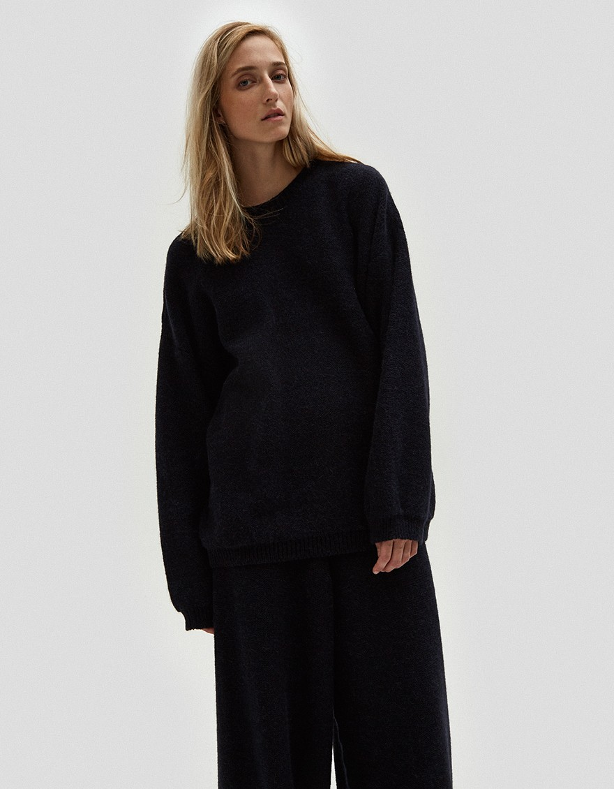 BASERANGE Oversize alpaca knit sweater from Baserange with crew neckline. Dropped shoulders. Long sleeves. Ribbed trim. Straight hem. Relaxed fit. Made in France.