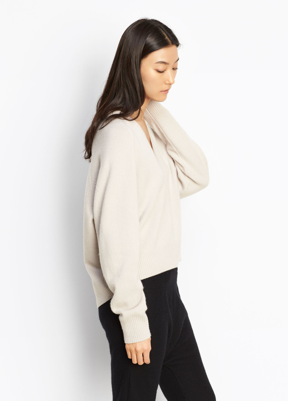 VINCE Cashmere Deep V-Neck Raglan  Raglan sleeve V-neck sweater with a contrast rib knit neck, cuffs and hem.