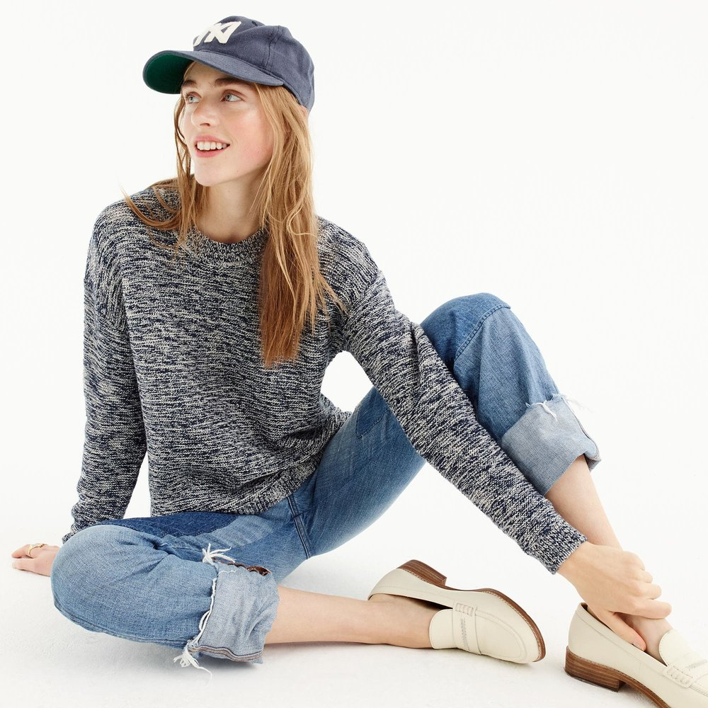 J.CREW Marled Crewneck Sweater  Dropped shoulders and slightly slouchy fit make this classic marled-cotton crewneck feel a little more polished.