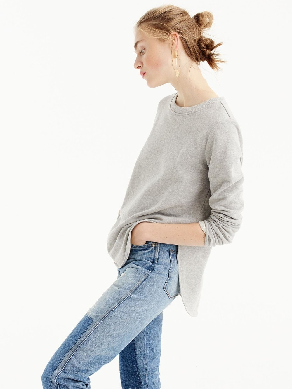 J.CREW Round Hem sweatshirt Tunic  This easy sweatshirt tunic has a rounded hem that's just the right (bum-covering) length.
