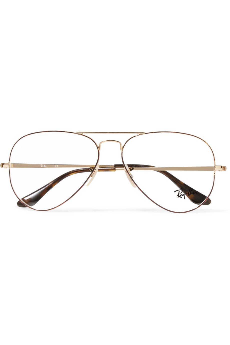 RAY BAN Aviator Optical Glasses  Ray-Ban's optical glasses are designed in the label's signature aviator shape - we've spotted similar oversized, clear lenses on Kendall Jenner, Gigi Hadid and Chiara Ferragni. Made from gold-tone metal, they have delicate frames that are subtly outlined in tortoiseshell acetate. Store yours in the leather case to keep them scratch-free.