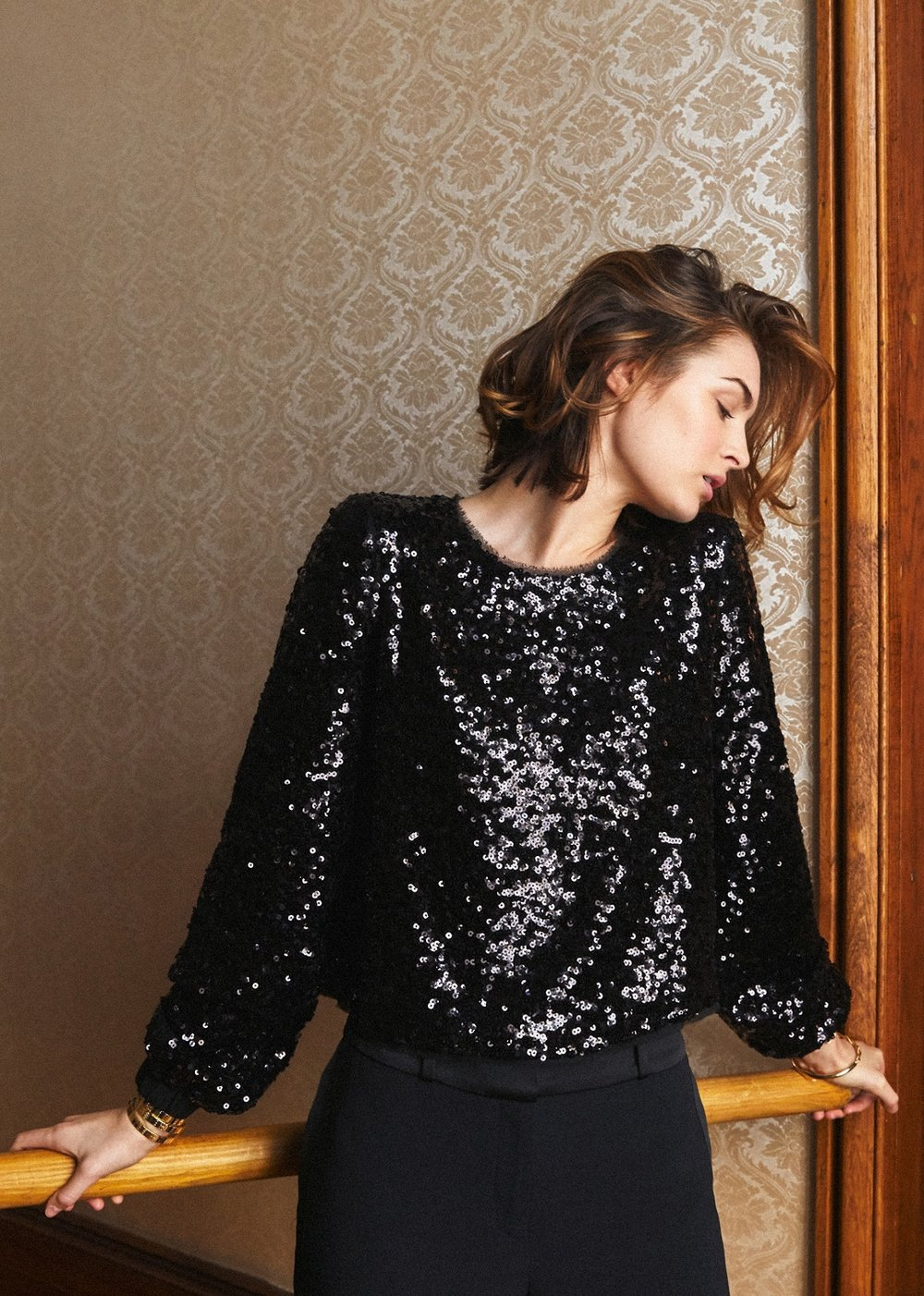SEZANE Christy Blouse  Embroidered long sleeve blouse with sequins and keyhole back to bring some sparkle to this season.