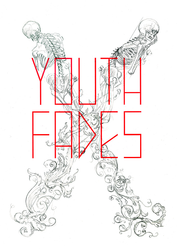 Youth Fades - sketch over letterpress print for the Art Directors Club, NYC