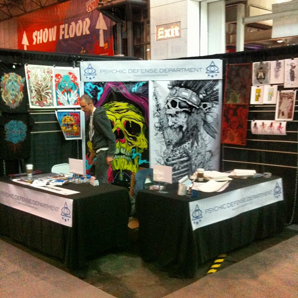 #nycc psychic defense department - setting up the good stuff. Booth 3002. With @scarecrowoven (Taken with Instagram)