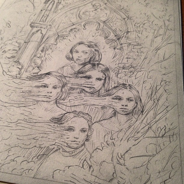 What's creepier than Victorian children with melting faces? New #wip #sketch