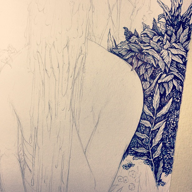 Step one, we can have so much fun #wip #ink  over #pencil