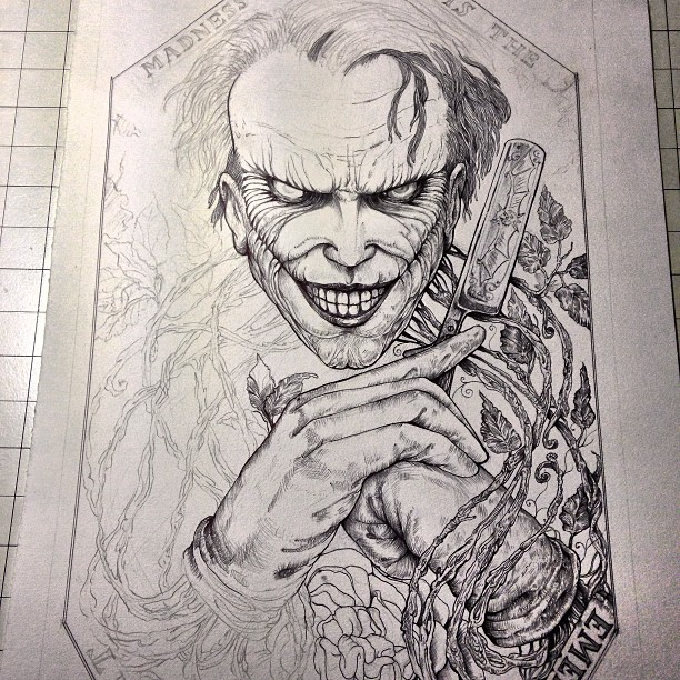 Since I still have nothing new to show. Here's a wip of my joker piece for the arch nemesis show at the herocomplexgallery from a bunch of weeks ago.
