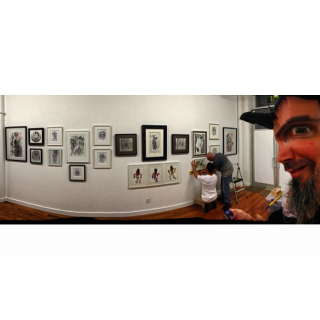 Hanging out at the bottleneck gallery. Here's my side of the wall with a cameo by @scarecrowoven  (at Bottleneck Gallery)